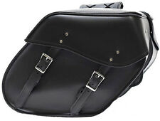 MEDIUM SIZE QUICK RELEASE PLAIN MOTORCYCLE PV LEATHER SADDLEBAGS UNIVERSAL FIT