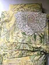 Pottery Barn Queen Duvet, Yellow Floral Cotton Full Standard Shams