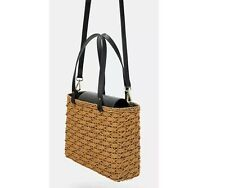 Zara Rattan Bag Natural Straw And Black Details With Gold Hardware Wicker Style