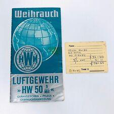 Weihrauch HW50 LUFTGEWEHR Leaflet in German Assembly Diagram Part List HW 50