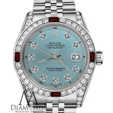 Rolex 26mm Datejust Metallic Blue Face Ruby & Diamond Numbers Stainless Steel