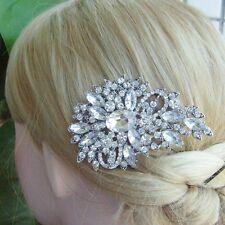 Elegant  Clear Rhinestone Crystal Flower Hair Comb Headpiece Tiara 04080C1