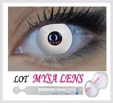 LENTILLES BLANCHE fantaisie CRAZY lens WHITE OUT HALLOWEEN etui et liquide 10ml
