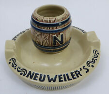 Vtg Neuweiler's Beer Ashtray Matchstick Holder Allentown Pa Brewery Ceramic