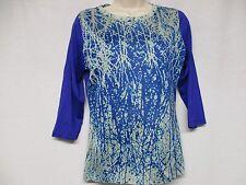 NEW Pashma Anthropologe SOFT Multi Color Print Shirt Blouse Top Size L    Z4