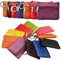 Womens Men Leather Small Wallet Mini Coin Purse Card Holder Zip Clutch Pouch Bag