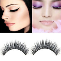 3 Pair 3D Natural Bushy Cross False Eyelashes Mink Hair Eye Lashes Black