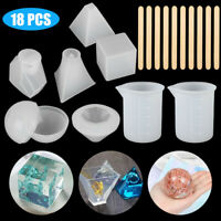 18 Pcs Resin Casting Molds Tool Kit Silicone Making Jewelry DIY Pendant Mould