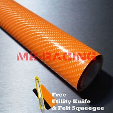"*12""x60"" 4D Gloss Orange Carbon Fiber Sticker Decal Car Vinyl Wrap Bubble Free"