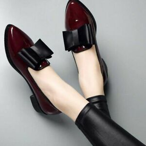 Women Shoes Low Heels Bowtie Loafers Patent Leather Elegant Pointed Footwears