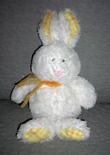 TY BEANIE BABIES  bunny rabbit, Harwood  white with yellow plaid ears feet  13in
