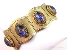 "Early Vintage Foil ART GLASS Cabochon Gold Tone Wide Link Bracelet 7"" by 1 1/2"""