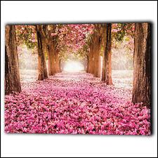 Pink Trees & Flower Petals Walkway Wall Canvas Framed Love - Art Print Gifts Her