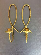 """Vintage Brass Candle holders pair Wall Sconces - Rope Design 12 """"Ornate"""