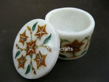 2.5 Inches Marble Jewelry Box Inlay Ring Box with Floral Design Gift for Mother