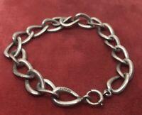 "Vtg Sterling Silver Bracelet 925 7"" Rings Statement Antique Mid Century Chain"