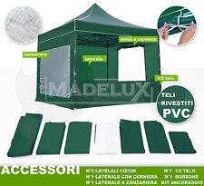 GAZEBO PIEGHEVOLE 3x3m con 4 laterali e accessori per giardino eventi mercato