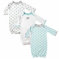 Luvable Friends Boy and Girl Sleep Gowns, 3-Pack, Mint and Grey Elephant