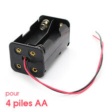 Pour 4x AA 1.5V Pile Accu Boitier Bloc Support Coupleur Battery Holder Case Box