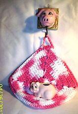 Pig F211 49- Ceramic Pig PotHolder / Toothpick Holder / Crocheted Potholder