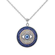 Nano Turquoise, Sapphire & Cubic Zirconia Evil Eye .925 Silver Pendant Necklace