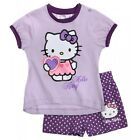 SANRIO ensemble short + t-shirt HELLO KITTY violet taille 6 mois NEUF