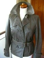 Ladies NEXT grey real Leather Jacket double breasted blazer size UK 12 10 biker