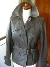 Ladies NEXT grey real Leather Jacket double breasted blazer size UK 12 10 biker