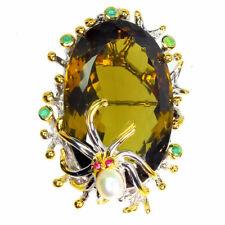 TOP BIG QUARTZ PENDANT : Natürliche Oliven Quarz Anhänger / Broschen Silber N157