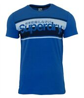Superdry Mens New Core Logo Stripe T-Shirt Crew Neck Short Sleeve Blue