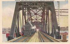Spokane Portland & Seattle Railway Columbia River Bridge WA Postcard