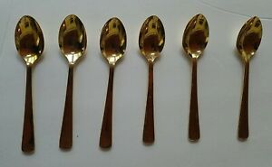 """(6) HIC JAPAN STAINLESS STEEL TRADITIONAL - GOLD TONE 4 1/2"""" - DEMITASSE SPOONS"""
