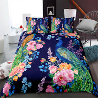 Peacock Flower Single/Double/Queen/King Bed Doona/Duvet/Quilt Cover Set Linen