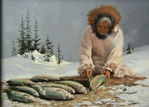 LISTED Harold Lyon Inuit Woman Cleaning Fish on Winter Day Oil Painting #5 NR