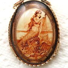 Mermaid Net Glitter Glass Cameo Pendant 14K Rolled Gold Jewelry