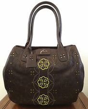 Petunia Pickle Bottom Brown Leather Transatlantic Tote Sepia Bag Purse Ltd Ed.