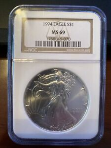 1994 American Eagle Uncirculated Silver Dollar 1 Ounce NGC MS 69