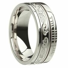 NEW White Gold Le Cheile Together Faith Inscribed Ogham Wedding Band Size Z+1