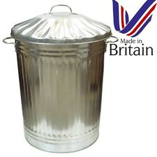 Large 90L Litre Galvanised Metal Bin Rubbish Waste Dustbin Animal Feed Storage u