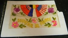 "Antique Souvenir Of France Needlepoint Post Card 5.5"" x 3.43"" Good Condition"