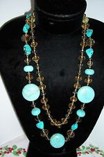 Turquoise  Necklace with Citrine Glass Faceted Beads HSN CHINA