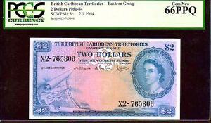 "BRITISH CARIBBEAN TERRITORIES P8c $2 ""MAP NOTE"" 1964 PCGS 66PPQ! EXTREMELY RARE!"