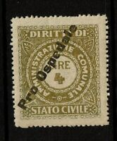 Italy 4 Lire Stato Civile Revenue Stamp Overprinted / Mint Never Hinged - S9445