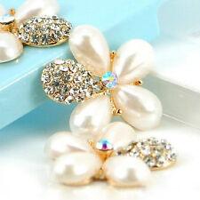 DIY phone decor 2 x 30mm Gold Alloy Ivory Pearl//Rhinestone Tear Drop flowers