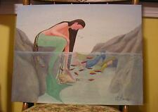 New listing MERMAID CONCH SHELL FISH SWIMS CAVE PRIMITIVE LISTED ARTIST FOLK ART PAINTING