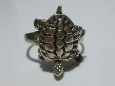 WOMENS UNIQUE STERLING SILVER MANEUVERABLE TURTLE RING BAND SZ 6
