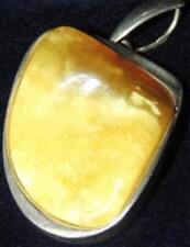 Victorian Huge Natural Milky Yolk Yellow Color Baltic Amber 925 Silver Pendant