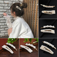 2Pcs Fashion Women Pearl Hair Clip Hairband Comb Bobby Pin Barrette Hairpin