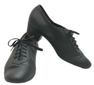 Angelo Luzio Dance Shoes Womens US 5.5 Black Leather Ballroom Practice