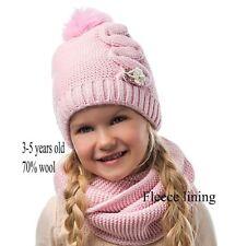 Toddler Kids Girl Winter Warm Crochet Knit Pom Pom Hat Beanie Infinity Scarf